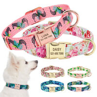 Fancy Floral Personalised Nylon Dog Collar Heavy Duty Name ID Tag Engraved S M L