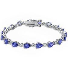 Pear Shape Tanzanite & Cubic Zirconia .925 Sterling Silver Bracelet