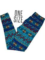 New LuLaRoe Leggings OS One Size Blue Red Teal Multicolor Unicorn NWT B0259