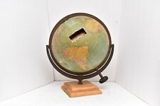 """Chas M Williams Antique 12"""" World Index Globe Metal wood Base Dated 1920s"""