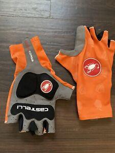Castelli Aero Team Summer Gloves Short Finger Padded Orange Medium