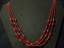 """Adjustable 16""""-19"""" Red Chunky 3 Strand Glass Beaded Necklace Dk Metal Chain Back"""