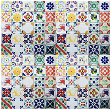 "100 MEXICAN TALAVERA  TILE 4x4""  MIXED WHITE DESIGNS HANDMADE"