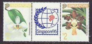 Singapore # 665a MNH Complee StripFlora Flowers