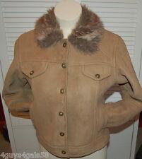 Mock Leather BROWN Coat Jacket Faux Fur Collar KC COLLECTION Large Junior