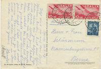 2402 I 1948 Flugpostmarken 10 L (2x) u Freimarke 5 L sehr frühe Nachkriegs-LUPO