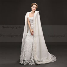 Faux Fur Bridal Cloaks Long Wedding Cape Women Floor-length Wedding Coat White