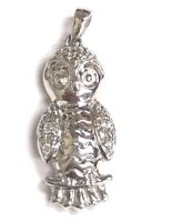 handmade fine silver forest bird charm on sterling silver Little Owl necklace