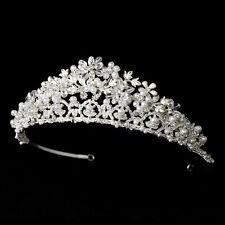 Silver Crystal Rhinestone Faux Pearl Bridal Wedding Tiara Crown Headpiece