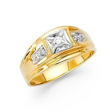 Cz Engagement Ring Solid 14k Yellow Gold Band Mens Wedding Fashion Fancy