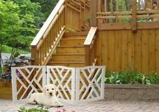 White Wood Crisscross Adjustable & Folding Indoor Safety Pet Gate For Small Dog