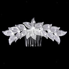 Silver Wedding Leaves Crystal Rhinestone Hair Comb Clips Bridal Accessories