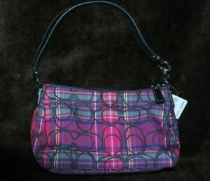 COACH PLAID GLITTER  F44166 Pink Multicolor Tartan Mini Handbag MSRP-$148