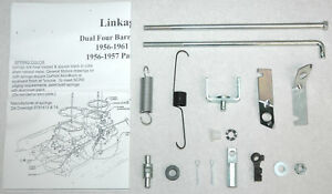 1956-61 LINKAGE KIT CARTER WCFB DUAL QUADS CORVETTE & CHEVY NEW W/SPRINGS BRKTS