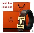 Luxury Brand Belt Fashion Quality Cowskin Leather Men Gold Silver Buckle Box