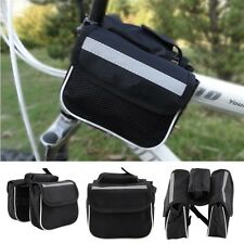 Bicycle Cycling Frame Pannier Saddle Front Tube Bag Both Side Double Pouch HT