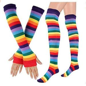 Girls Knee Thigh High Socks Arm Warmer Gloves Rainbow Striped Party Cosplay Chic