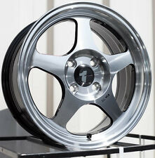 One Avid1 AV08 15X6.5 Rims 4x100 +35 Black Wheel Rim
