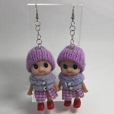 Purple Cute Doll Hat Shoes Huge Giant Oversized Earrings 11.5 Cm Long Toy B504