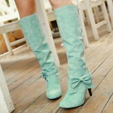 Size 34-45 Womens Princess Bowknot Knee High Boots Stiletto Heel Wedding Cosplay