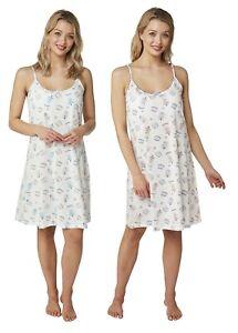Womens Jersey Chemise  Strappy Short Nightdress Nightie  Size UK 10 - 20