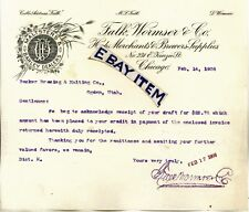 1908 Letterhead FALK WORMSER & COMPANY Chicago ILLinois PRE PROHIBITION Maltster