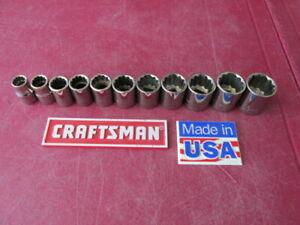 "VINTAGE CRAFTSMAN USA METRIC 12 Point Sockets G Series - 3/8"" Drive ~ 9MM-19MM"