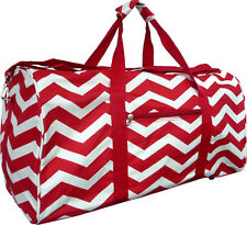 "22"" Women's Chevron Print Gym Dance Cheer Travel Carry On Duffel Bag - Red"