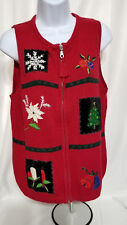Christmas Vest Crazy Horse Size PL Poinsettias Bells Tree Holly Ugly Sweater