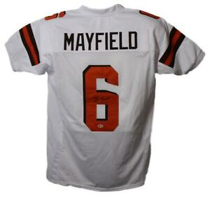 Baker Mayfield Autographed/Signed Pro Style White XL Jersey BAS 22899