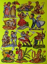 Vintage Scrap Paper Die Cut Glanzbilder Oblaten  EAS 3145 Children Around World