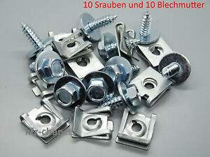 10 X Screws And 10 Plate Nut Clips for Audi BMW Vauxhall Ford Seat Skoda VW