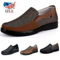 US Men Casual Shoes Leather Business Dress Formal Antiskid Loafers Driving Flats