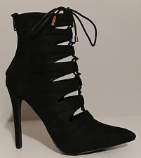 "NEW!! Liliana Black Suede Lace Up Ankle Booties 4.5"" Heels Size 8M US 38M EU"