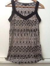 FRENCH LAUNDRY Boho Tank Top Sz S Black Tan Gray White Tribal Crochet Straps