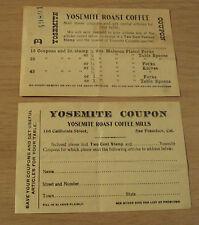 "RARE 1920's Advertising Coupons~""YOSEMITE COFFEE MILLS""~San Francisco CA~"