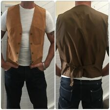 Real SUEDE LEATHER WAISTCOAT mens Lge / M pig skin ATELIER genuine QUALITY BOHO