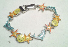 Silvertone w Clasp Under the Sea Bracelet w Color Starfish & Dolphins Jewelry