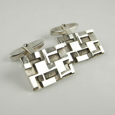 Silver Vintage Modernist Geometric Cufflinks Groom Cuff Links Wedding 1950s 60s
