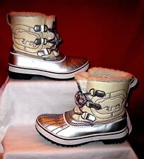 WOMEN'S RED by MARC ECKO OUTDOOR BOOTS SZ 6.5 SILVER/WHITE W FAUX FUR LINED