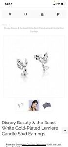 Disney Couture Lumiere Beauty And The Beast White Gold Studs New Earrings