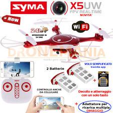 DRONE SYMA X5 UW WIFI BLOCCO ALTEZZA barometro FPW camera 720p kit 2 BATTERIE!!