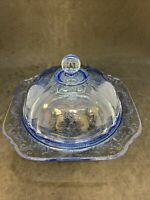 Indiana Glass Recollection Blue (Madrid) Covered Butter Dish