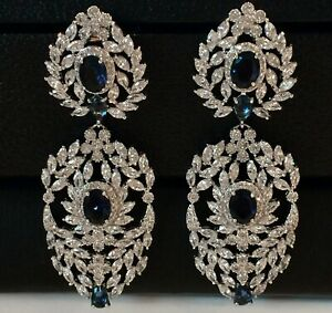 6 cwt Lab Blue Sapphire &15cwt Marquise Diamond Big Earrings 18K White Gold Over