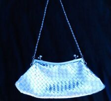 Metallic shiny Silver mock leather braided Weave Evening Party Bag Clutch purse