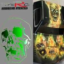 AIRBRUSH STENCIL FOR RC BODY, REAPER SKULL 3, LASER CUT, REUSABLE
