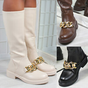 New Womens Chunky Chain Embellished Knee High Boots Sizes 3-8