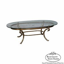 LaBarge Brass Swan Neck Oval Glass Top Coffee Table