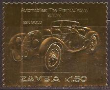 Zambia - 1986 B.M.W. Automobile - 22K Gold Leaf Stamp - 26A-033