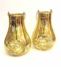 2 X Gold Glass Hanging Candle Tea Light Holder Rustic Stained Finish 75-1549